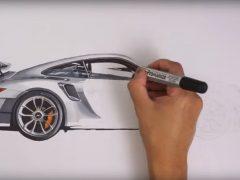2017 Porsche 911 GT2 RS drawing